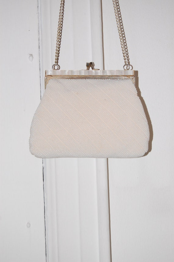 50s White Pearl Beaded Evening Bag - Bridal, Party