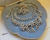 Complete Bridal Set Vintage Parure includes Bracelet Necklace and Earrings in sparkling clear rhinestones flower design bridal wedding set