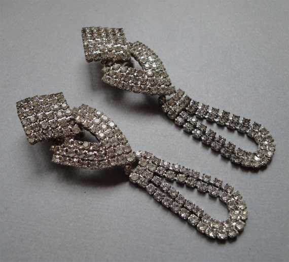 Vintage Bridal Earrings Long Rhinestone Shoulder Dusters and Totally Glamorous Encrusted with Rhinestones for the Hollywood Princess Bride
