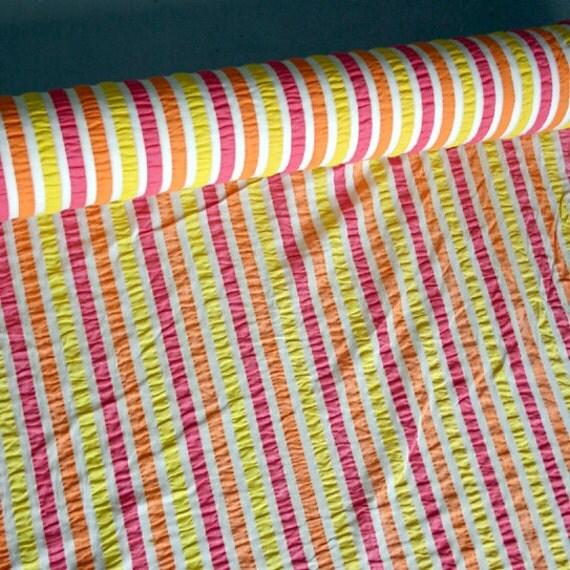 Hot Pink, Yellow, Orange and Cream Seersucker / 8 Yards Plisse Cotton Fabric