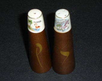 Vintage Collectible Florida State Salt and Pepper Shakers with Flamingo decorations.