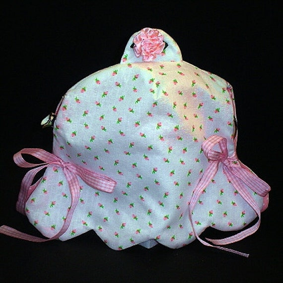 Teapot Cozy-Rose Bud fabric teapot cover with ribbon and flower design
