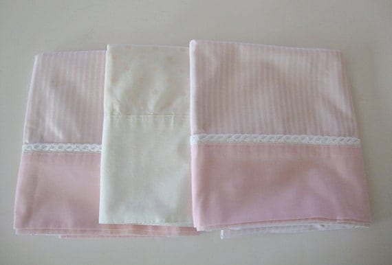 White Shabby Chic Pillow Cases : 3 Vintage Shabby Chic Pink & White bedroom Pillow case
