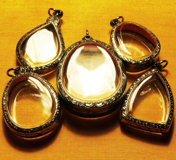 5 Antiqued Engraved Clear Blank Shadow Box Empty Container Pendant Amulet Locket Cases - ONLY 5 DOLLARS EACH