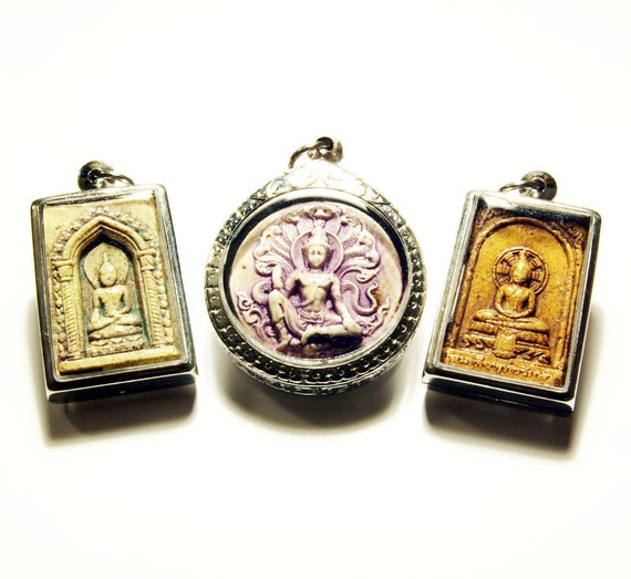 Set of 3 Beautiful Unique Clay Handpainted Buddhist Lucky Spiritual Amulets Natural Verdigris Faded Lilac Honey