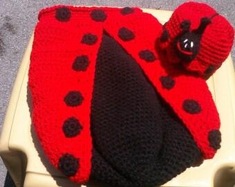 Ladybug Cocoon Costume Photo Prop Newborn to 2 months Set Hand Crocheted