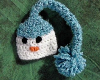 Twins Snowman Hat Cuddle Soft Newborn to 3 months Photography Prop Blue or Custom Colors