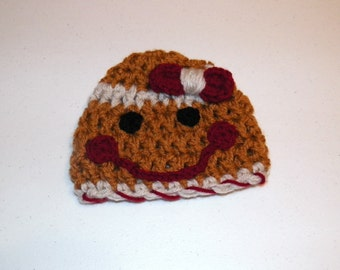 Gingerbread Girl Hat Cuddle Soft Newborn to 3 months Photography Prop
