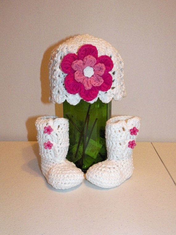 Crocheted Cotton Hat and Booties for 3 Months to 6 months Baby Shower Gift Pink and White Flower or Custom Colors Girl