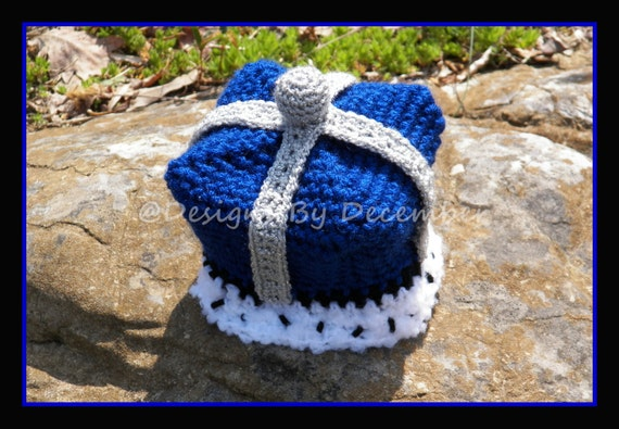 Crocheted Little Prince King Crown Hat 2T to 4T Toddler Royal Blue White and Silver or custom colors