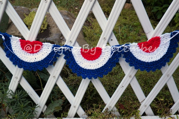 Crochet Garland Pennant Banner Bunting Flag Pennant  Patriotic Americana Red White and Blue Photo Prop