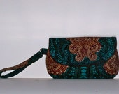 Clutch/Wristlet Bag in unique African fabric