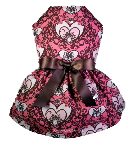 Clearance Dog Dress Pink and Brown Damask Couture Small Last One