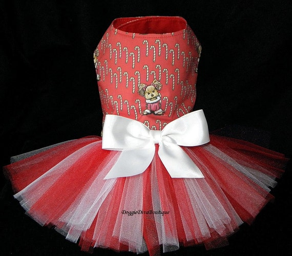 Dog tutu dress yorkie red holiday xxs xs or by doggieaboutique