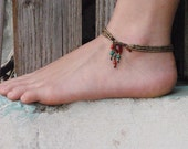 Boho Anklet Happiness Three Stranded Brass Beads Anklet With Ethnic Ornamental Beads Toggle Clasp.