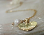 HOLIDAY SALE - Pearl Heart Necklace ,14K Goldfilled