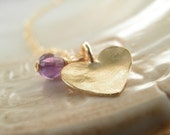 MOTHERS DAY SALE Gift Modern Jewelry Amethyst Jewelry, Holiday Sale, Purple Amethyst Heart Necklace, 14K Gold Filled, Febuary Birthstone
