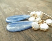 HOLIDAY SALE - Princess Exotic Blue Kyanite And Pearls Cluster Earrings, 14k Gold Filled