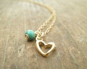 MOTHERS DAY SALE Girl Gold necklace Gold Pendant Heart Jewelry Gold heart necklace Turquoise Gold Heart Necklace, Gold Fill, Girls Necklace