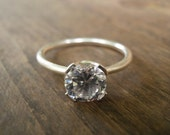 Engagement Ring, Vintage Inspired Classic Large Clear Zircon Ring, Silver Ring, Statement Ring, Bridal Jewelry