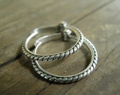 Tiny Sterling Silver Unisex Every Day Hoops Earrings, Greek Style, Classic Design, Braided Hoops