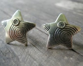 Star Earrings, Small Silver Stud Earrings, Hand Engraved Spirals, Clear Zircons Post Earrings, Every Day, Graduation gift