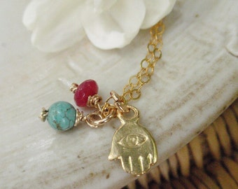MOTHERS DAY Gift Gold Necklace Hamsa Ruby Turquoise Necklace, July Birthstone Necklace, Blue and Red Lucky Talisman Necklace ,14K Gold Fill