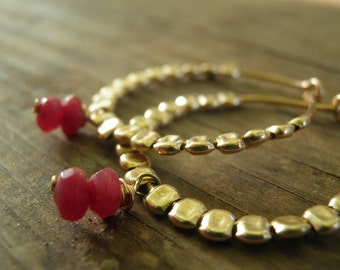 MOTHERS DAY SALE July Birthstone, Ruby Jewelry, Bridal Earrings Winter Fashion, Gold Filled Glories Hoops, Gold Hoops, Everyday Jewelry