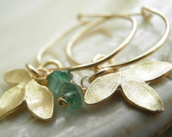 MOTHERS DAY SALE Green Aventurine Petal Small Hoops In Gold August Birthstone Anniversary Gift For Her Ready To Ship