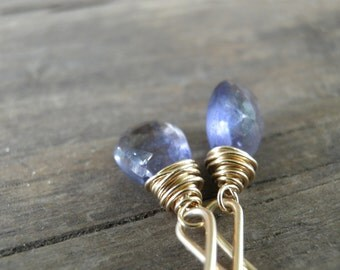 Earrings Blue Howlite Sapphire Earrings Rough Finished faceted Teardrop Briolette Wire Wrapped In Gold Filled, Holiday Sale, Spring Trends