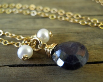 Spring Sale Blue Jewelry, Natural Blue Sapphire Pearls September Birthstone Rough Finished faceted Teardrop Briolette In Gold Filled