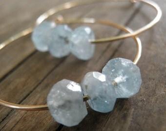 Hoops Earrings, March Birthstone, Aquamarine Earrings, Faceted Aquamarine Milky Blue, Birthstone Jewelry, Gold Filled, Silver Hoops, Gift