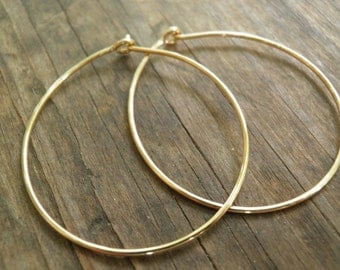 MOTHERS DAY SALE Hoops Earrings Gold Hoops Simple Large Hand Crafted Hoops In 14k Gold Filled Modern Classic Design Holiday Sale