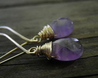February Birthstone, Earrings, Purple Lavender Amethyst Tear Drop Briolette, Spring Fashion, Vivid Violet, 14k Gold Filled, HOLIDAY SALE