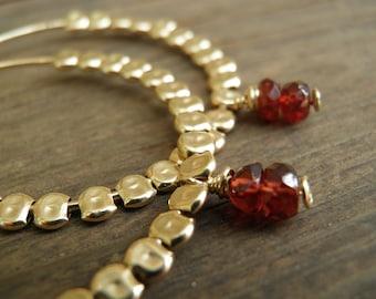 Bridal Garnet Hoop Earrings, January birthday Red Garnet Gold Hoops Red Garnet Gold Filled Glories Hoops, Spring Fashion Valentines Day Gift