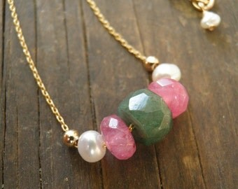 JUNE BIRTHSTONE Gold Necklace Spring Green Faceted Aventurine, Hot Pink Crystal, White Pearls, 14k Gold Filled Beads Necklace, Colorful