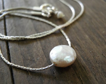 Tiny Coin Pearl Pendant Necklace Sterling Silver Necklace, Minimalist Pendant, Unique, Delicate, June Birthstone, Feminine Gift For Her
