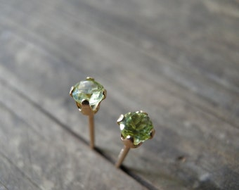 Peridot Stud Earrings, Tiny Green Genuine Peridot Stud Earrings, 14k Gold Filled Studs, 3 mm Peridot Post Earrings, August Birthstone