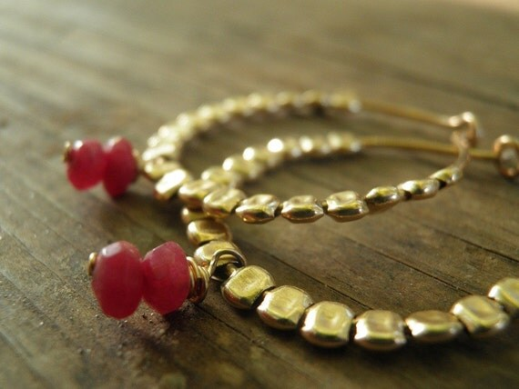 VALENTINE SALE Christmas Gift, SALE, July Birthstone, Ruby Jewelry, Bridal Earrings Winter Fashion, Gold Filled Glories Hoops, Gold Hoops, E