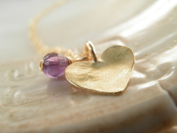VALENTINES DAY SALE Gift Modern Jewelry Amethyst Jewelry, Holiday Sale, Purple Amethyst Heart Necklace, 14K Gold Filled, Febuary Birthstone
