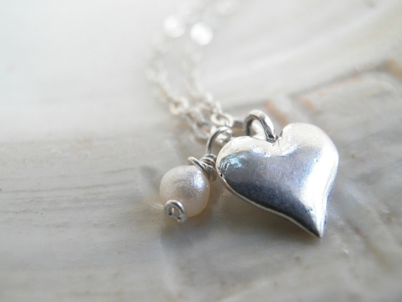 MOTHERS DAY SALE Heart Pendant, Heart Jewelry, June Birthstone Necklace, Sterling Silver Necklace, Pearl Silver Tiny Heart Necklace