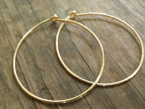 Hoops Earrings, Gold Hoops Simple Large 3 cm / 1 inch, Hand Crafted Hoops In 14k Gold Filled Modern Classic Design, Holiday Sale
