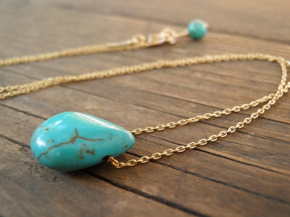 Gold Necklace, Tiny Teal Howlite Turquoise Teardrop Necklace, Gold Bridal Necklace, Minimalist Pendant, Delicate, Everyday Gift For Her