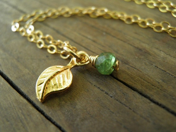SALE Tiny Green Emerald Necklace Tiny Gold Leaf Necklace, August Birthstone Color Charm, May Birthstone, Minimalist Dangle Necklace, For Her