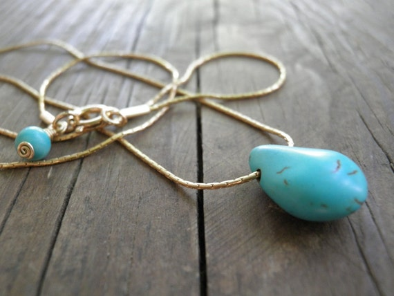 Bridesmaid gift Tiny Teal Howlite Turquoise Teardrop Necklace, 14K Gold Filled Necklace, Minimalist Pendant, Delicate, Feminine Gift For Her
