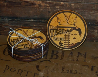 "Ten Leather ""Tesla Club"" Coasters"