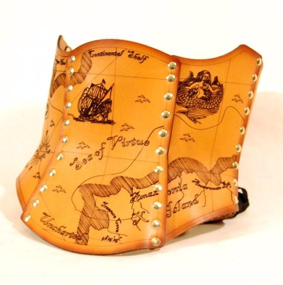 Hard Leather Treasure Map Corset - Custom