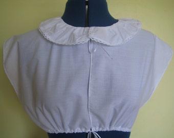 Regency Chemisette/Tucker. Jane Austen. CUSTOM MADE White Cotton, Lace Trimmed Ruffled Collar.