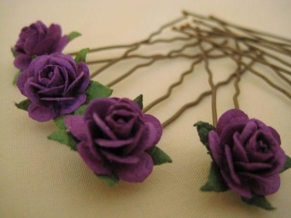 Tyrian Purple Rose Hairpins x 8. Paper. Aubergine. Wedding, Bridal, Regency, Victorian