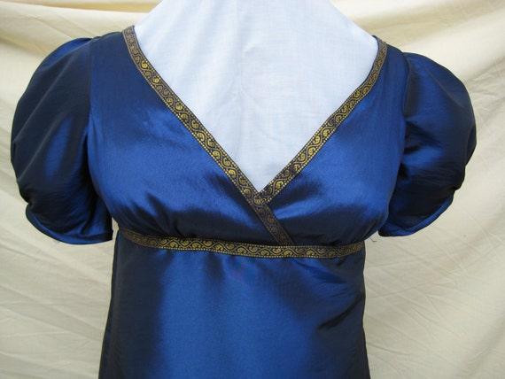 Regency Dress, Ball Gown. Jane Austen. Navy Taffeta, Gold indian trim. Plus Size. READY to SHIP